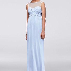 David's Bridal Long Mesh Dress Illusion Neckline